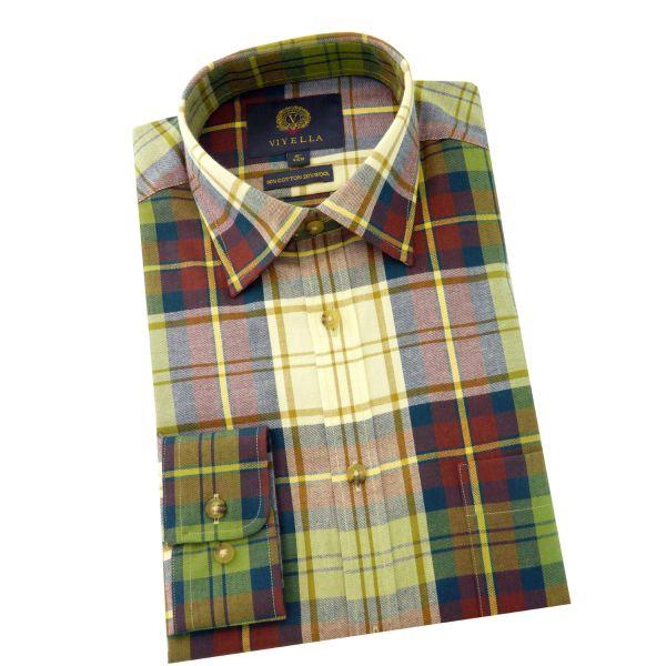 Viyella - Cotton and Wool Shirt in Dress Gordon Muted