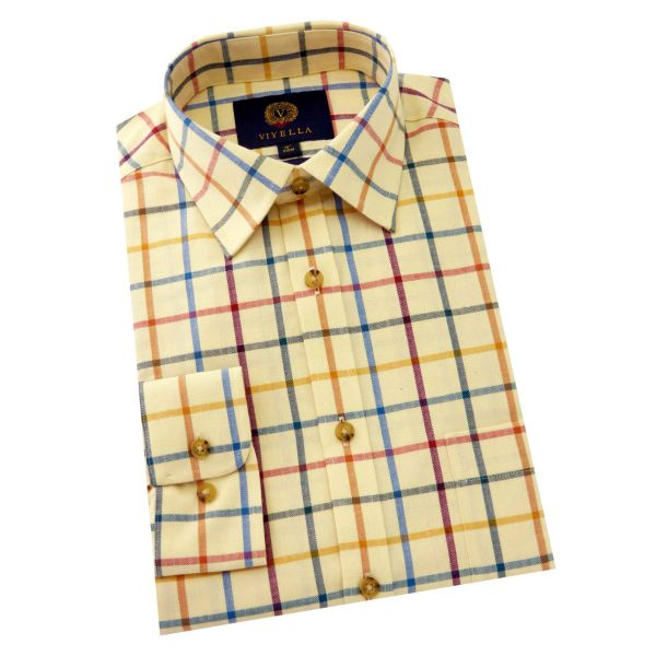 Viyella - Cotton and Wool Shirt in Multi Tattersall Diamond Check