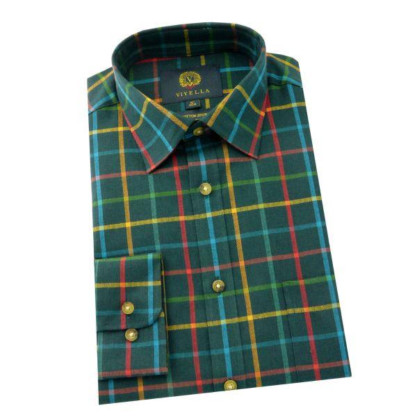 Viyella - Cotton and Wool Shirt in Green Gable Tattersall Diamond Check