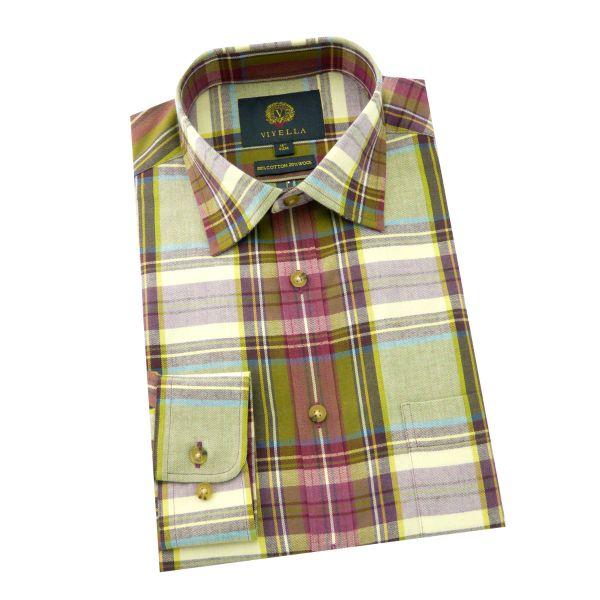 Viyella - Cotton and Wool Shirt in Plum Plaid