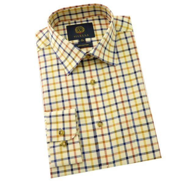 Viyella - Cotton Twill Shirt in Ochre Tattersall
