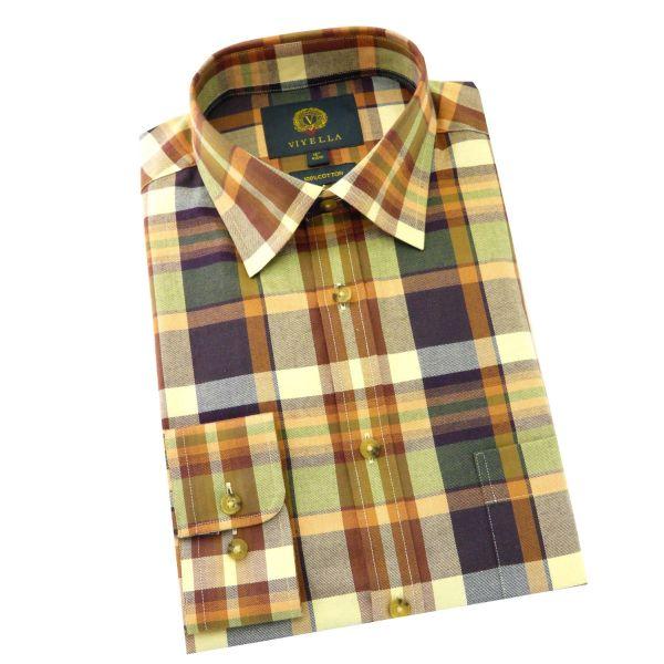 Viyella - Cotton Twill Shirt in Aubergine Plaid