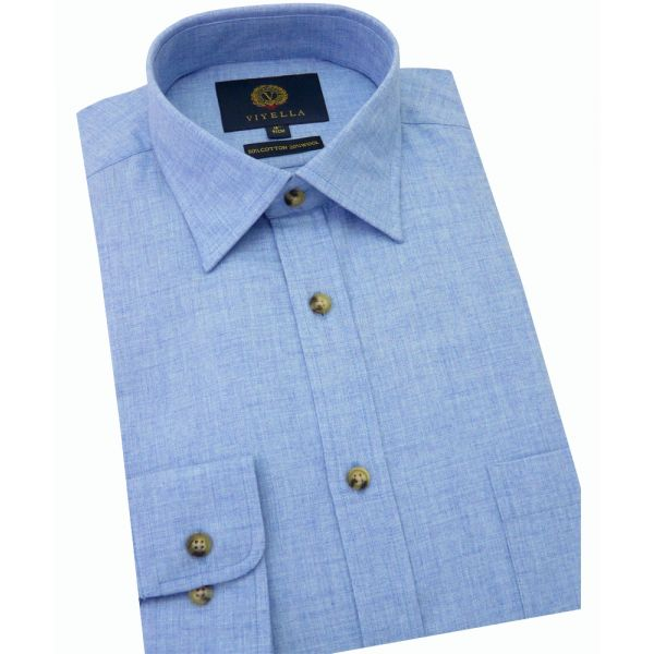 Viyella Cotton and Wool Shirt in Sky Denim Marl