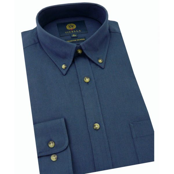 Viyella Cotton and Wool Shirt in Navy with Button Down Collar