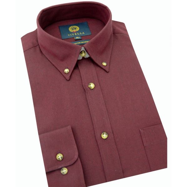 Viyella Cotton and Wool Shirt in Heather with Button Down Collar