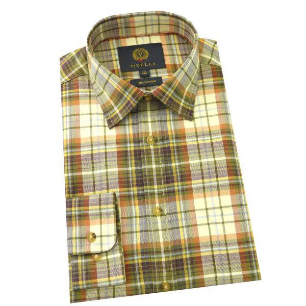 Viyella - Cotton Twill Shirt in Willow Plaid