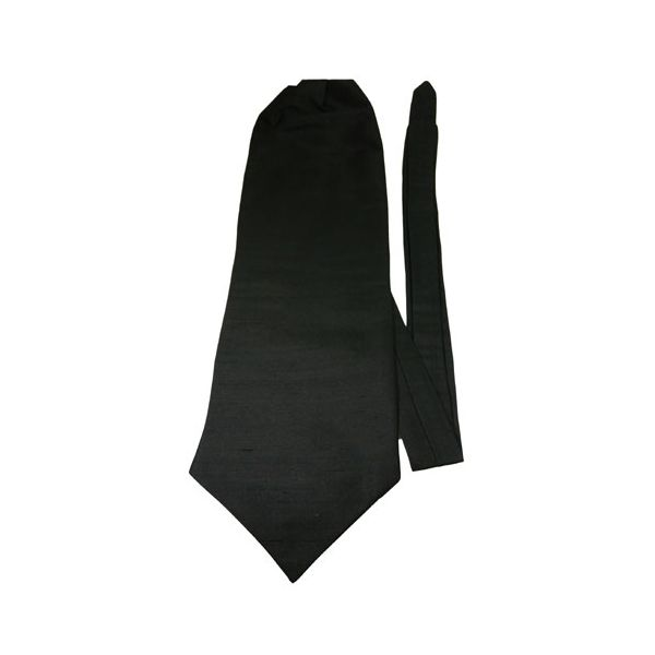 Black Shantung Silk Self Tie Cravatte