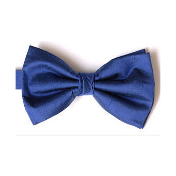 French Navy Shantung Silk Pre Tied Bow Tie