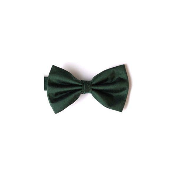 Bottle Green Shantung Silk Pre Tied Bow Tie