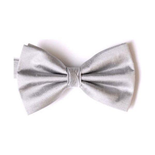 Silver Shantung Silk Pre Tied Bow Tie
