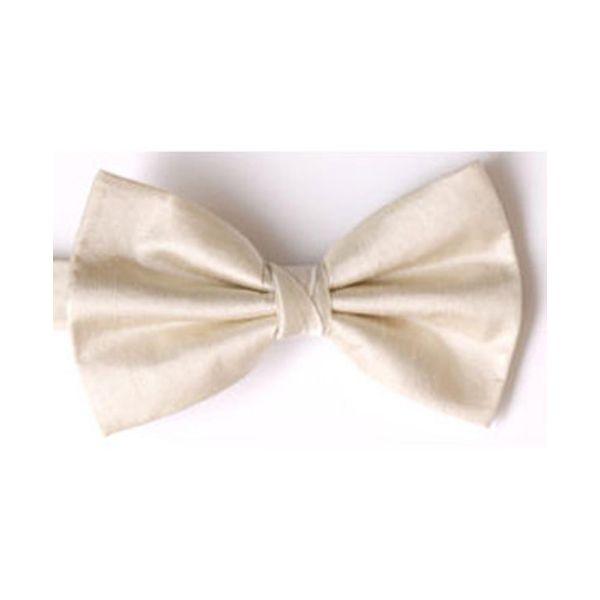 Ecru Shantung Silk Pre Tied Bow Tie