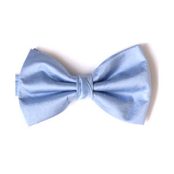 Light Blue Shantung Silk Pre Tied Bow Tie