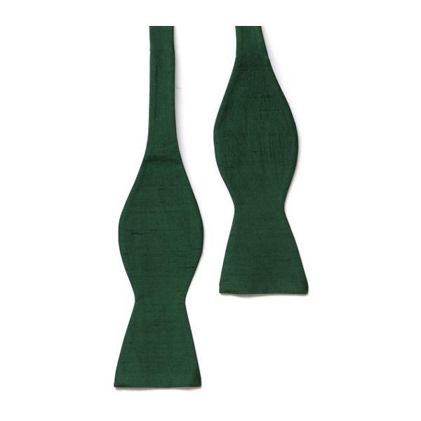 Bottle Green Shantung Silk Self Tie Bow Tie