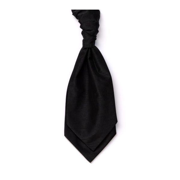 Black Self Tie Polyester Shantung  Men's Cravat