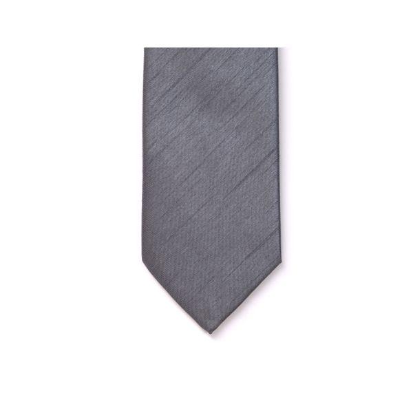 Grey Polyester Shantung Men's Tie