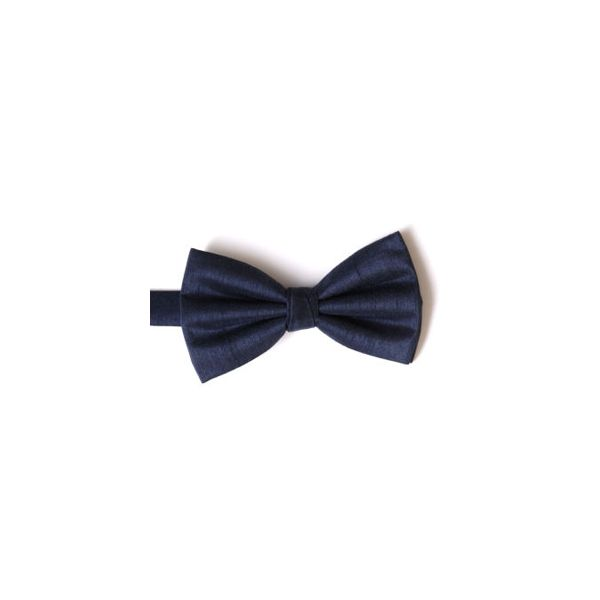 Navy Polyester Shantung Men's Bow Tie