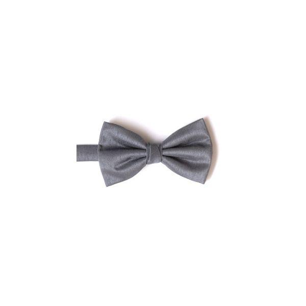 Grey Polyester Shantung Men's Bow Tie