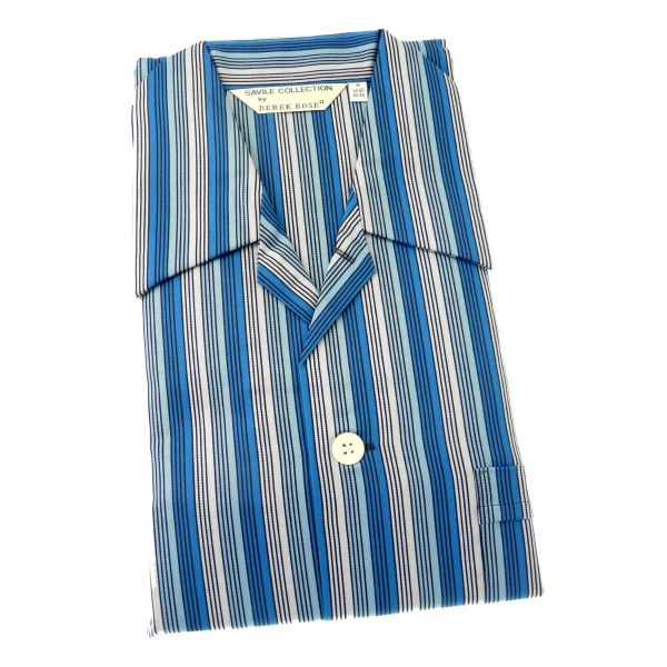 Derek Rose - Wellington 42 - Mens Cotton Pyjamas in Blue and Silver Stripe - Tie Waist