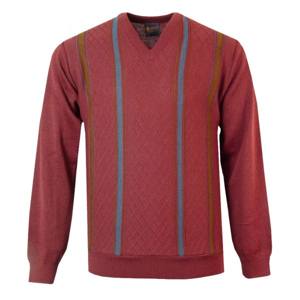 Gabicci v Neck Jumper in Cabernet with Navy Stripes