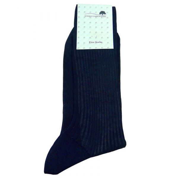 Wood's Navy Cotton Lisle Socks