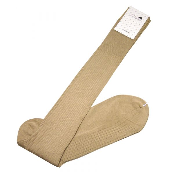 Wood's Beige Long Cotton Lisle Socks