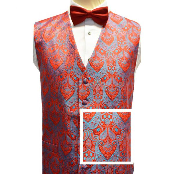 Bold Red and Blue Paisley Design Waistcoat from Lloyd Attree and Smith