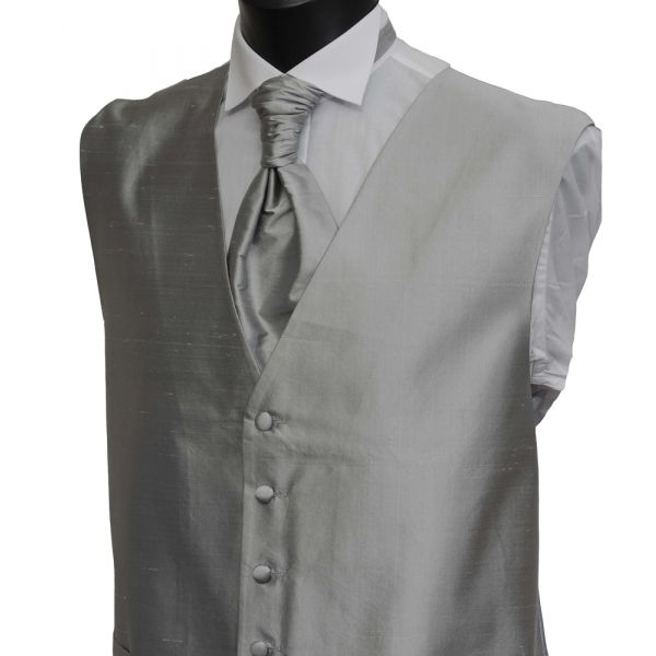 Silver Grey Silk Waistcoat from Lloyd Attree & Smith