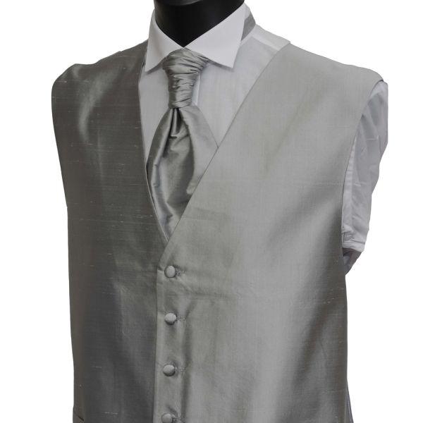 Silver Grey Boys Silk Waistcoat
