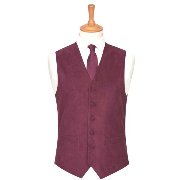 Wine Suede Effect Waistcoat from Lloyd Attree & Smith