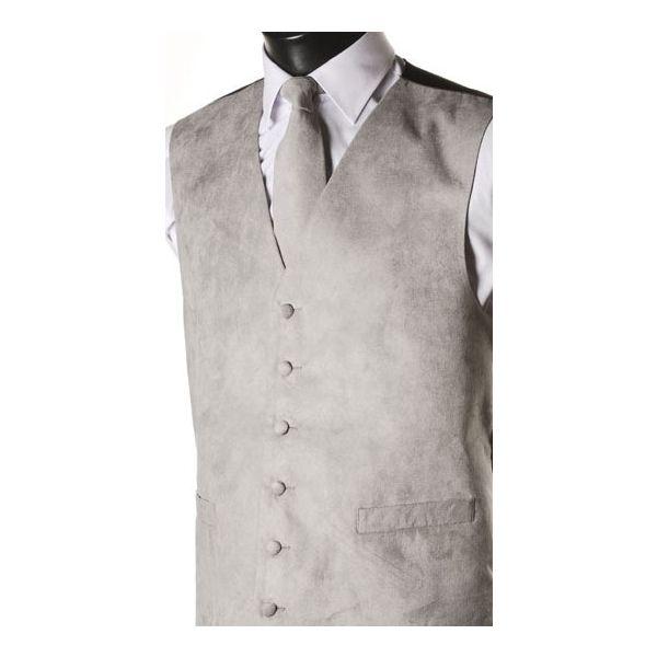 Grey Suede Effect Waistcoat-M