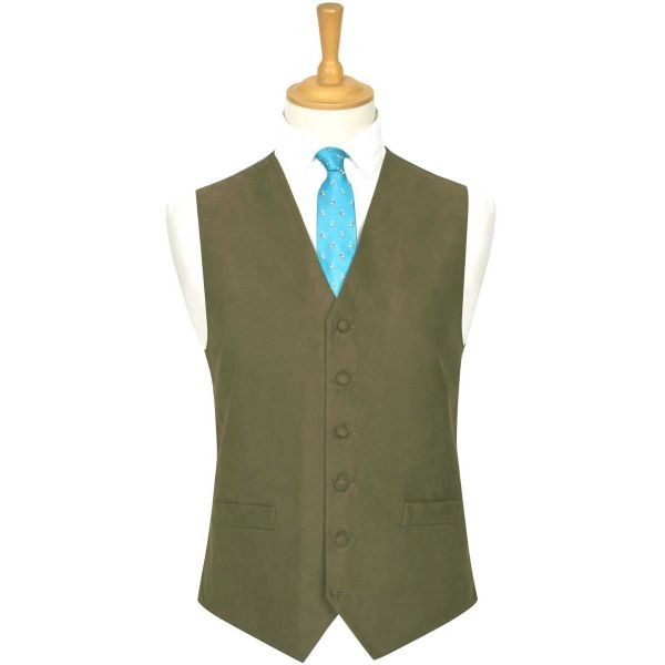 Lovat Green Suede Effect Waistcoat from Lloyd Attree & Smith