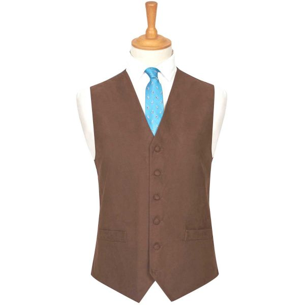 Dark Brown Suede Effect Waistcoat from Lloyd Attree & Smith