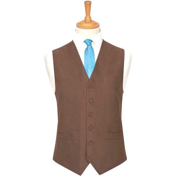 Dark Brown Suede Effect Waistcoat from Lloyd Attree & Smith