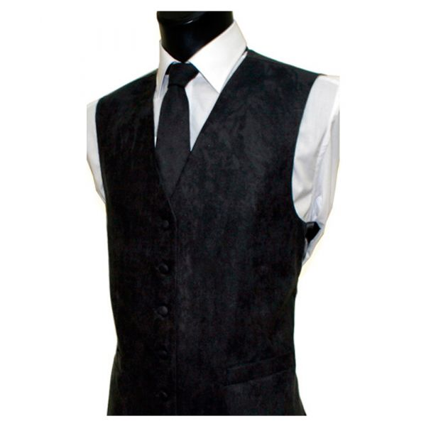 Black Suede Effect Waistcoat from Lloyd Attree & Smith