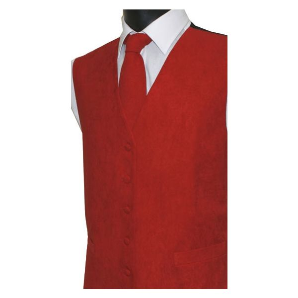 Red Suede Effect Waistcoat-M