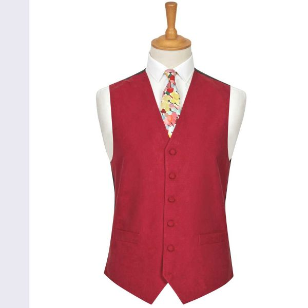Red Suede Effect Waistcoat from Lloyd Attree & Smith