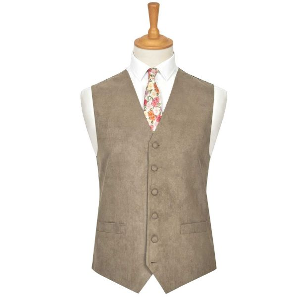 Taupe Suede Effect Waistcoat from Lloyd Attree & Smith