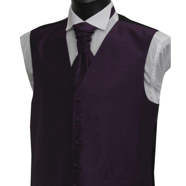 Boys Purple Polyester Shantung Waistcoat