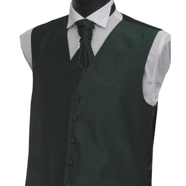 Boys Bottle Green Polyester Shantung Waistcoat