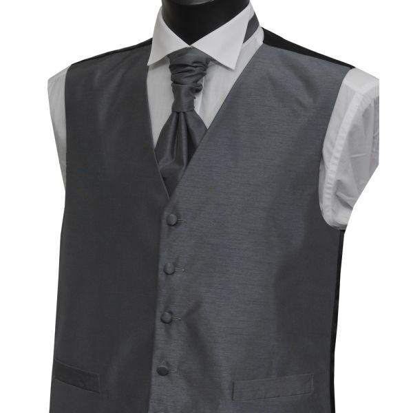 Boys Grey Polyester Shantung Waistcoat