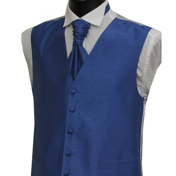Airforce Polyester Shantung Waistcoat