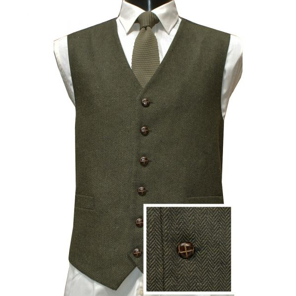Green Herringbone Design Wool Handle Waistcoat