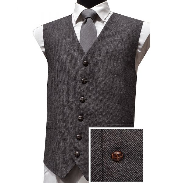 Grey Herringbone Design Wool Handle Waistcoat