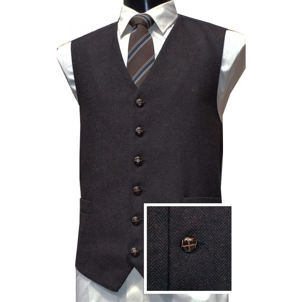 Brown Herringbone Design Wool Handle Waistcoat