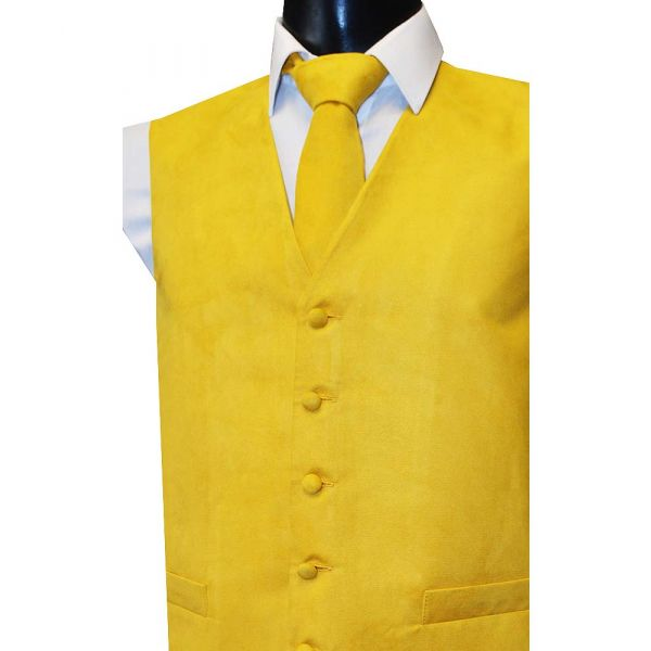 Gold Suede Effect Waistcoat from Lloyd Attree & Smith