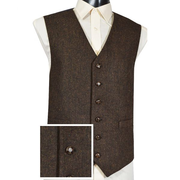 Brown Flecked Tweed Wool Handle Waistcoat
