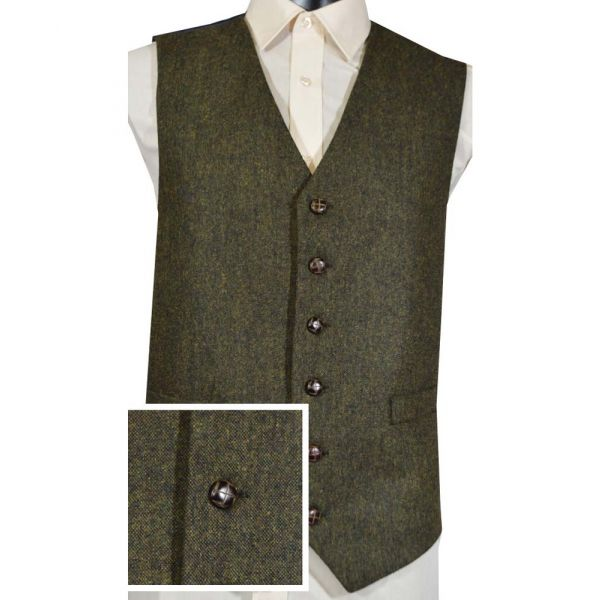 Green Flecked Tweed Wool Handle Waistcoat
