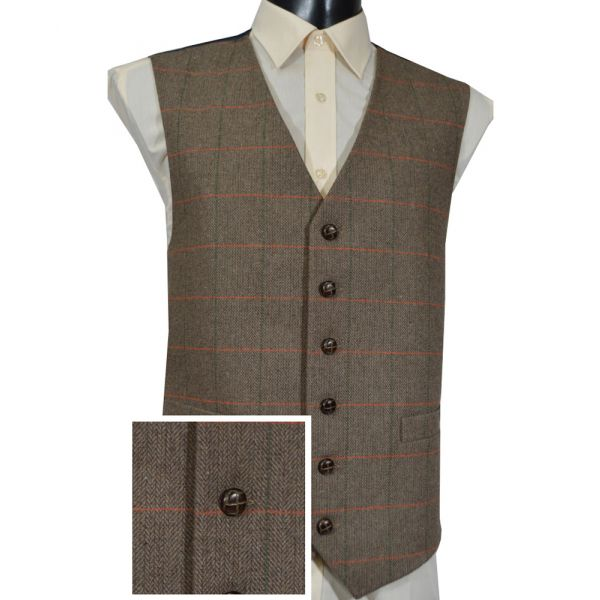 Brown Herringbone Check Wool Handle Waistcoat