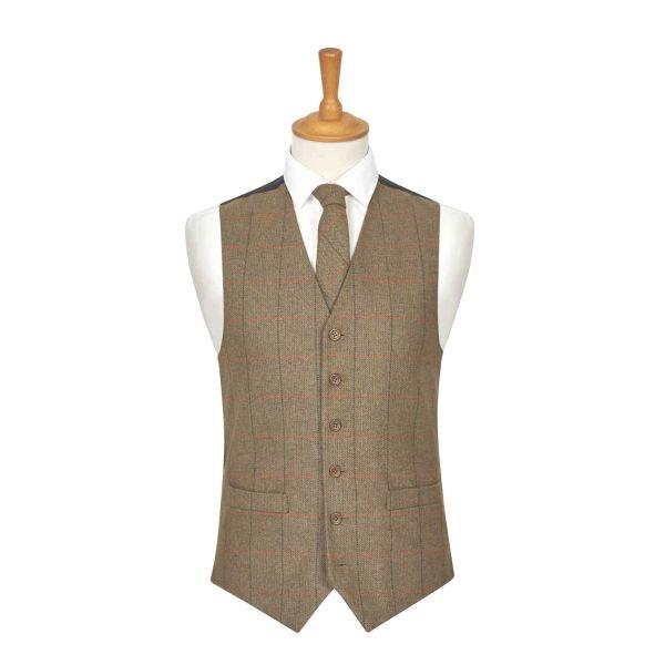 Brown Herringbone Check Wool Handle Waistcoat