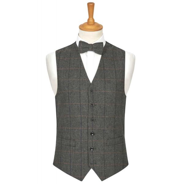Grey Herringbone Check Wool Handle Waistcoat